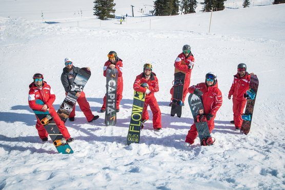 Snowboardlehrer der Skischule Optimal